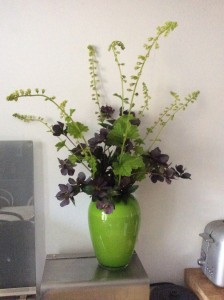Hellebore flowers/seedheads look fab in a vase right now