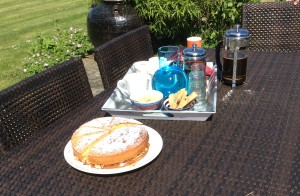 Home made cakes and fresh coffee as a mid-morning break with our clients and 'Vollies' (volunteers) in a Sussex garden